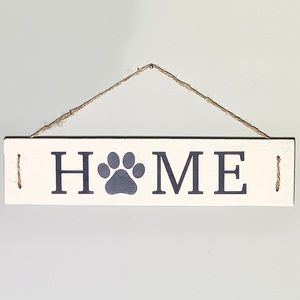 Home Wooden Sign with Paw Print